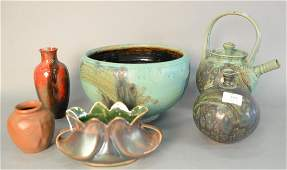 Six Pieces of Pottery to include bronze luster vase