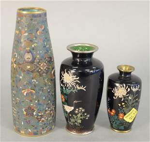 Three Cloisonne Vases to include one having crane and