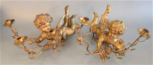 Pair of Gilt, Carved Wood and Gesso Putti Wall Sconces
