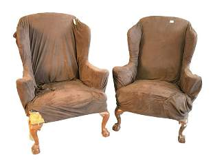Pair Margolis Chippendale Style Upholstered Wing Chairs