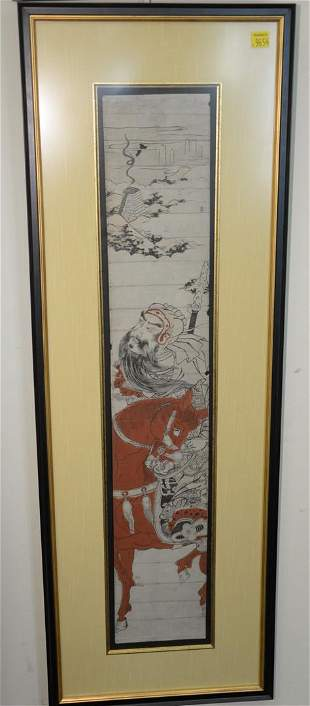 Pair of Chinese watercolor on paper, one of warrior
