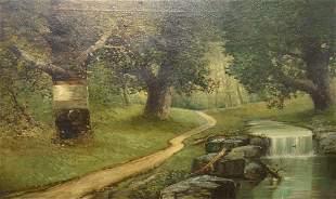 "American School (20th Century) ""Brook in the Park"" oil"
