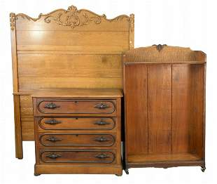 4 piece Victorian lot, oak bookcase, Victorian walnut