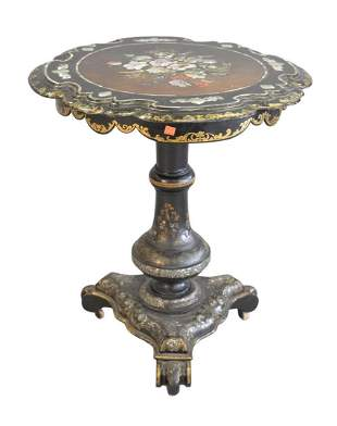 Paper Mache Tip Table with inlaid mother of pearl and