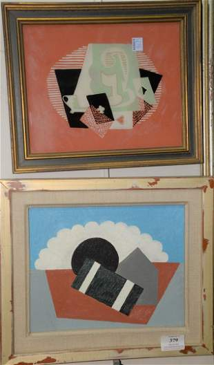 Two Framed Abstracts by Earl Horter (American, 1881 -