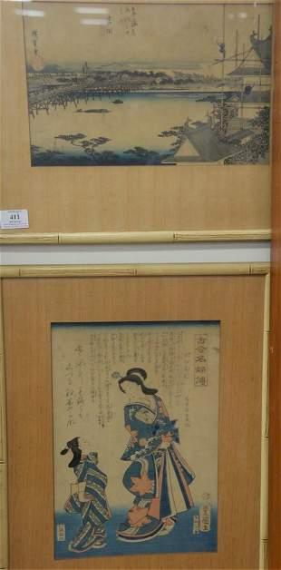 Group of Ten Oriental Woodblock Prints, Watercolors and