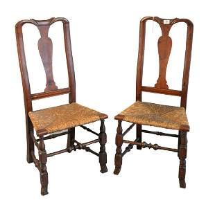 Pair of Queen Anne Side Chairs having rush seats on