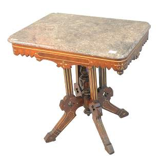 Victorian Table  with grey and salmon marble top, with