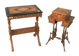 Two Renaissance Revival Tables One rectangle with