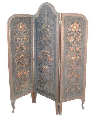 Three Panel Embossed Leather and Painted Dressing