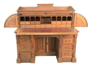 Two Piece Lot to include Walnut Cylinder Roll Top Desk