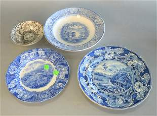 Group of Four Transferware Plates to include three