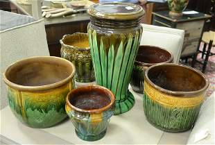 Group of Six Majolica Ceramic Pieces to include five