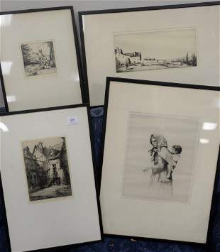 Group of Eleven Framed Etchings to include Martin