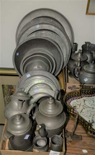Large Group of Pewter to include trays; chargers;