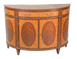 Ethan Allen Mahogany Inlaid Demilune Cabinet with