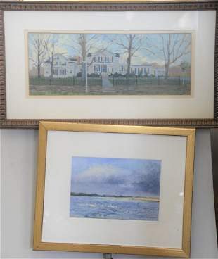 Group of Twelve Paintings to include oil of homestead,
