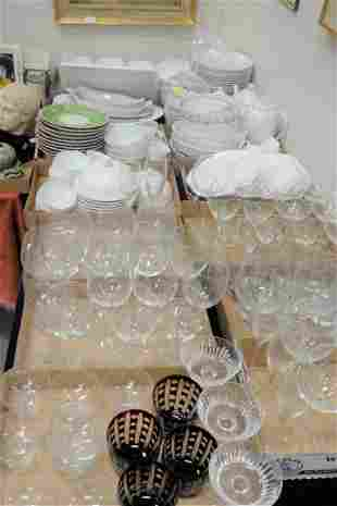 Table Lot  to include glass wine and stemware; Richard