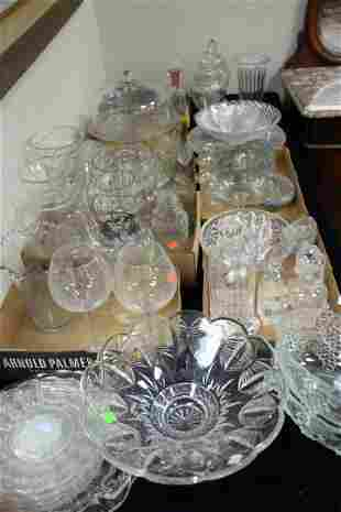 Large Table Lot of Clear and Colored Glass to include