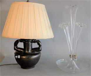 Five Piece Lot to include; Art Deco hanging six light