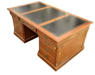Large Cherry Partners Desk  in three parts, with three