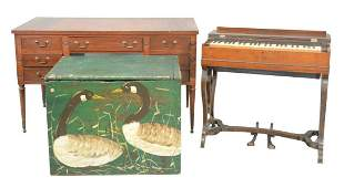 Six piece group to include;  Mahogany desk with leather