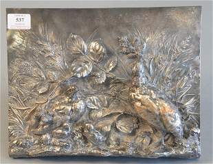 Paul Comolera Wall Hanging bronze plaque with bird mot