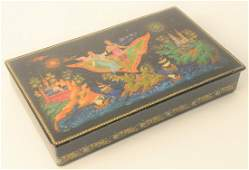 Large Russian Lacquer Box, having legends and fairy