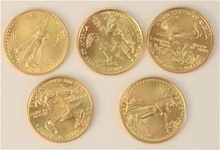 Five Gold Eagles, $5, 2004, 1/10 oz. each.