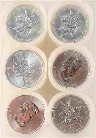 Six Rolls of Canadian Maple Leaf Silver, 1 oz. each; 25