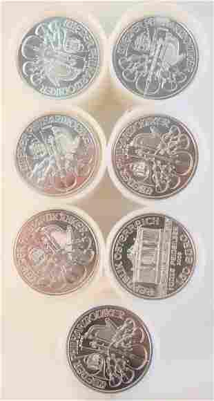 Seven Rolls of Austrian Philharmonics Silver, 1 oz.