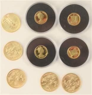 Five Gold Eagles, 1/4 oz. each, plus 4 Canadian 1/20