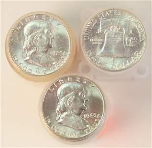 Three Rolls of Franklin Silver Half Dollars, 1963, AU;