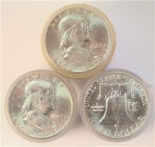 Three Rolls of Franklin Silver Half Dollars, two 1962