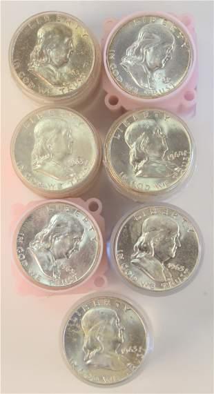 Seven Rolls of Franklin Silver Half Dollars, 1963, AU.
