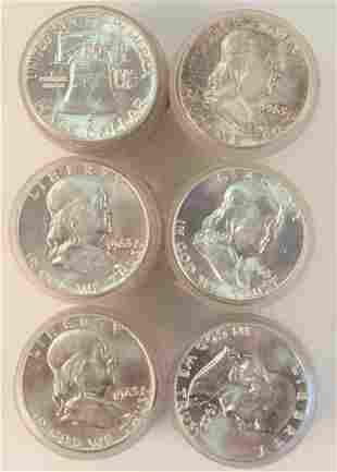 Six Rolls of Franklin Silver Half Dollars, 1963, AU.