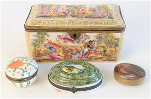 Group of four boxes to include, Capodimonte box with