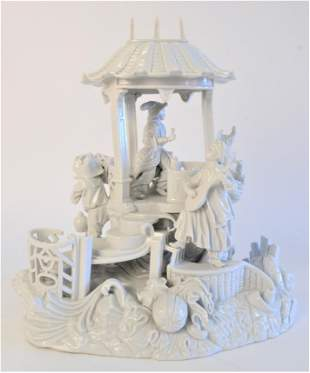 German Porcelain Group, people in gazebo, blue mark on