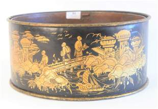 Tole Gilt Decorated Cachepot, having chinoiserie