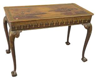 Chinoiserie Decorated Table, with dished top, set on