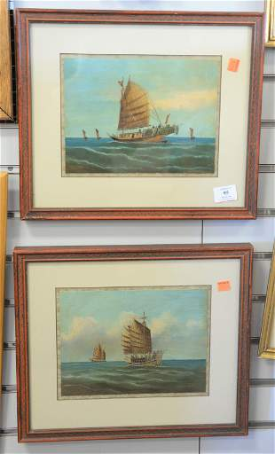 Pair of Chinese Trade Paintings, oil on board, of