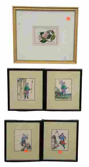 Group of Nine Asian Rice Paper Paintings, to include