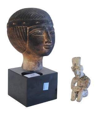Two Piece Lot to include Egyptian Carved Stone Bust of