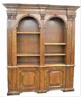 Walnut Bookcase, with fluted pilaster ends, with open