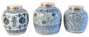 Three Chinese Blue and White Porcelain Ginger Jars,