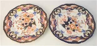 Set of Eight Bloor Derby Porcelain Dinner Plates,