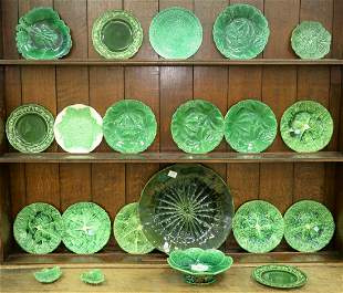 Twenty-One Piece Lot of Majolica, cabbage leaf and