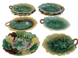Ten Majolica Leaf Shaped Dishes, with acorn forms,