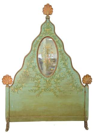 Carved and Painted Headboard, with painted oval mirror,