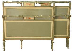 Pair of Twin Beds, paint decorated with headboards,